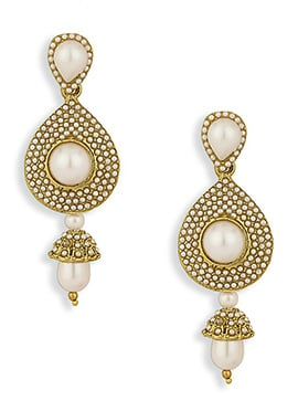 Golden N Off White Colored Beads Earrings