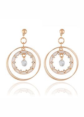 Golden N Off White Crystal Dangler Earring