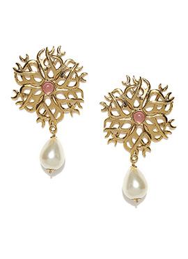 Golden N Off White Drops Earrings