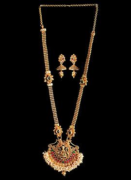 Golden N Off White Goddess Lakshmi Necklace Set