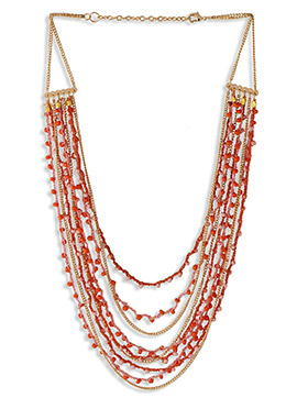 Golden N Orange Beads Layered Necklace