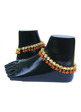 Golden N Orange Kundan Anklet