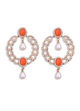 Golden N Orange Stone Studded Drop Earrings