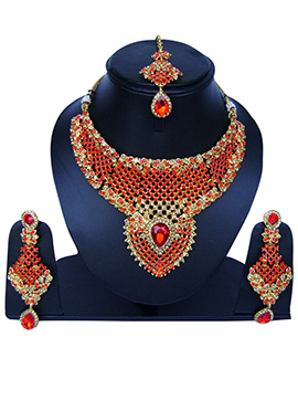 Golden N Orange Zircon Stone Necklace Set