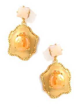 Golden N Peach Dangler Earrings