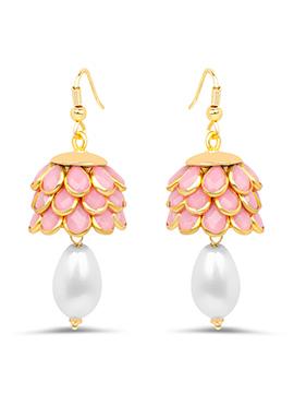 Golden N Pink Hooks Earring