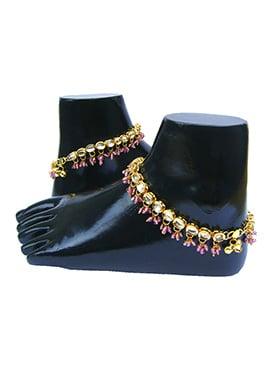 Golden N Pink Kundan Anklet