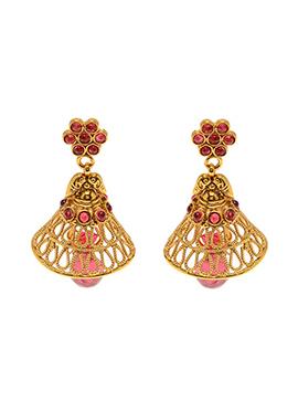 Golden N Pink Kundan Jhumka