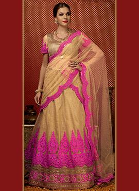 Golden N Pink Net Lehenga Choli