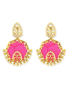 Golden N Pink One Stop Fashion Earrings