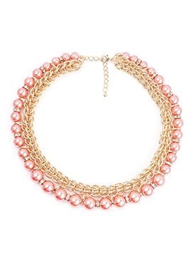 Golden N Pink Pearl Necklace