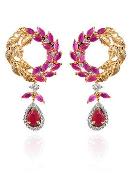 Golden N Pink Ruby American Diamond Danglers