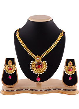 Golden N Pink Stone Necklace Set