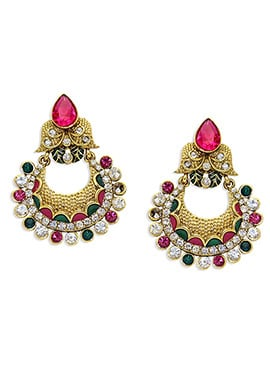 Golden N Pink Stone Ornate Chand Balis