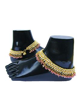 Golden N Pink Stones Anklet