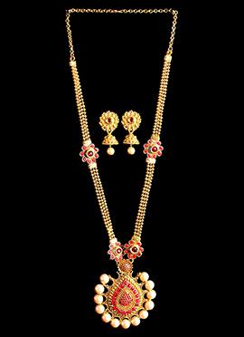Golden N Pink Stones Necklace Set