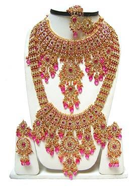 Golden N Pink Zircon Stones Bridal Set