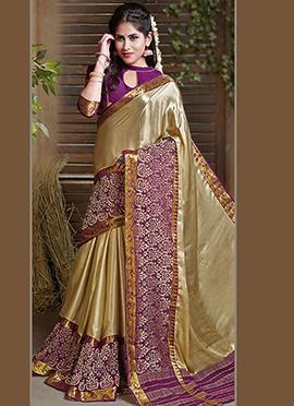 Golden N Purple Art Silk Saree