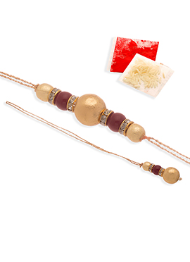Golden N Purple Chained Beads Rakhi