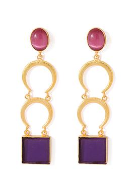 Golden N Purple Dangler Earrings