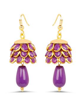 Golden N Purple Hooks Earring