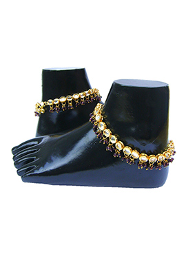 Golden N Purple Kundan Anklet