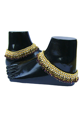 Golden N Purple Stones Anklet