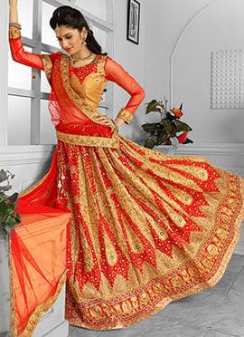 Golden N Red A Line Lehenga Choli