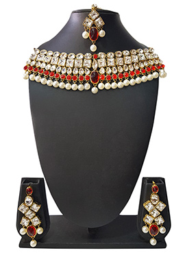 Golden N Red Beads N Kundan Choker Necklace Set