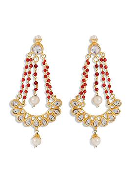 Golden N Red Chandelier Earring