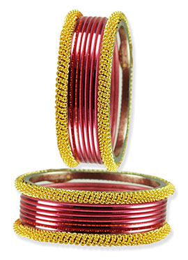 Golden N Red Color Flawless Bangles