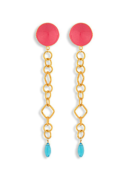 Golden N Red Colored Danglers