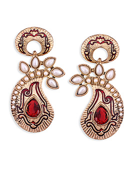 Golden N Red Colored Paisley Danglers