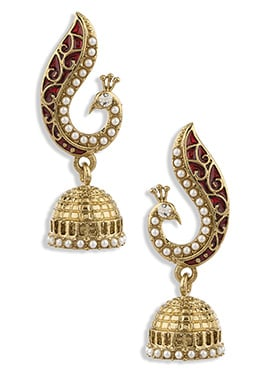 Golden N Red Colored Peacock Design Jhumka