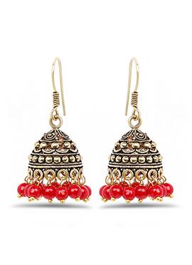 Golden N Red Jhumka Earring