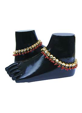 Golden N Red Kundan Anklet