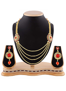 Golden N Red Layered Necklace Set