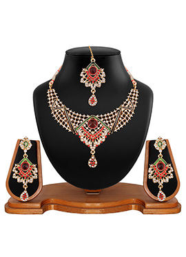 Golden N Red Stone Studded Necklace Set