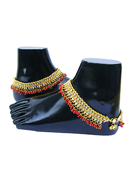Golden N Red Stones Anklet