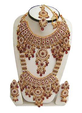 Golden N Red Zircon Embellished Bridal Set