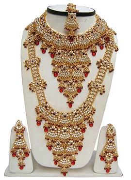 Golden N Red Zircon Stones Studded Bridal Set