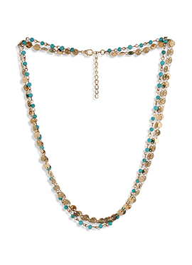 Golden N Turquoise Colored Hair Chain