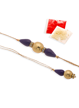 Golden N Violet Beads Rakhi