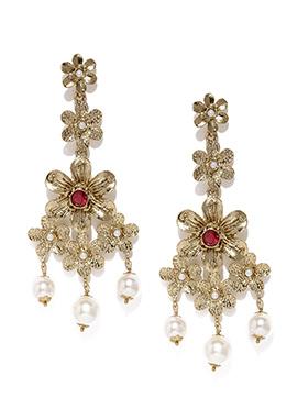Golden N White Beads Dangler Earrings