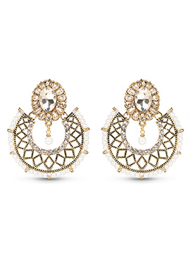 Golden N White Chanbali Earrings