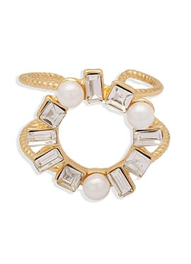 Golden N Off White Color Ring
