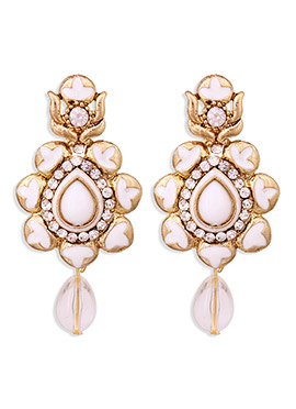 Golden N White Colored Floral Danglers