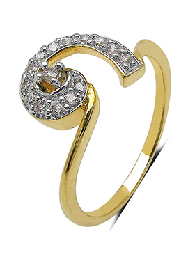 Golden N White Cubic Zirconia Ring