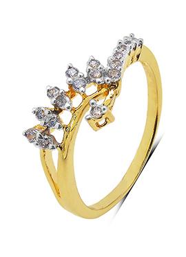 Golden N White Cubic Zirconia Ring