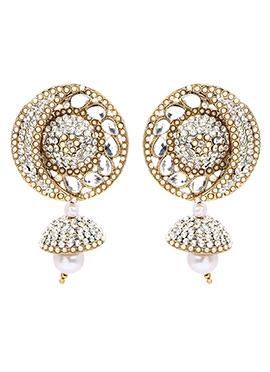 Golden N White Dangler Earring